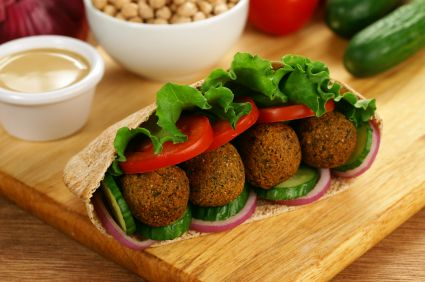 Baked Falafel Vegan Recipe with Israeli Salad and Tahini ...